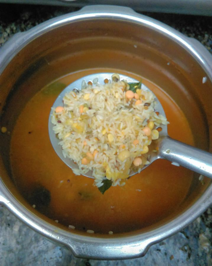Add water to all the ingredients, dal and rice