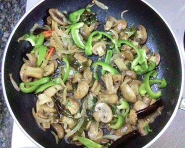 Mushroom Pepper Fry cooking process